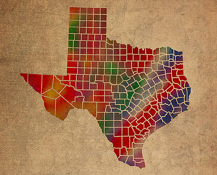 Design Turnpike - Counties Of Texas Colorful Vibrant Watercolor State Map On Old Canvas
