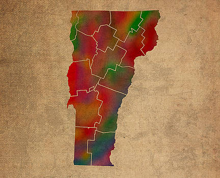 Design Turnpike - Counties Of Vermont Colorful Vibrant Watercolor State Map On Old Canvas