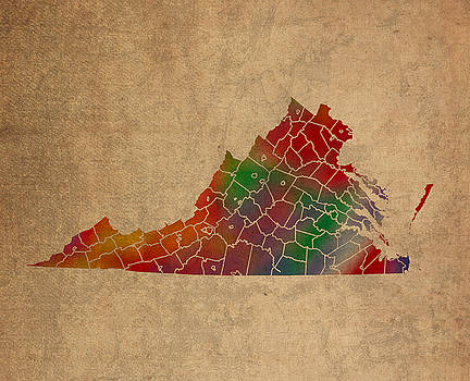 Design Turnpike - Counties Of Virginia Colorful Vibrant Watercolor State Map On Old Canvas