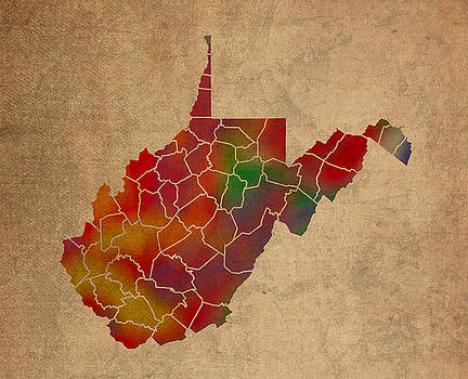 Design Turnpike - Counties Of West Virginia Colorful Vibrant Watercolor State Map On Old Canvas