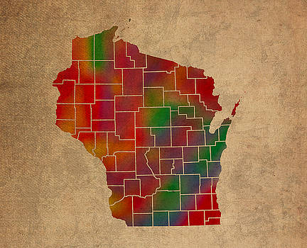 Design Turnpike - Counties Of Wisconsin Colorful Vibrant Watercolor State Map On Old Canvas