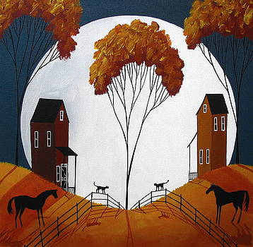 Country Cousins - folk art landscape by Debbie Criswell