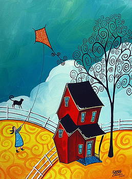 Country Girl - whimsical landscape cat by Debbie Criswell