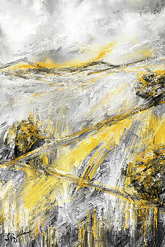 Country Glow - Yellow And Gray Modern Artwork Paintings by Lourry Legarde