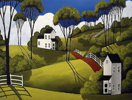 Country Greens - folk art landscape by Debbie Criswell