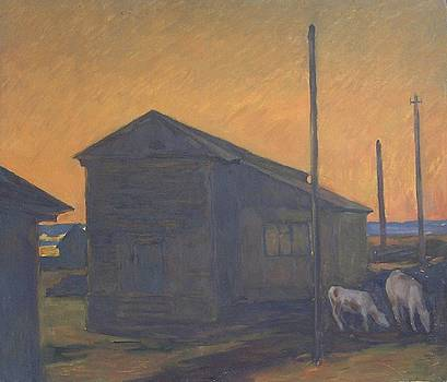 Country Landscape with calves. Etude by Andrey Soldatenko