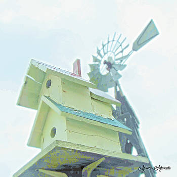 Countryside Birdhouse and Windmill by Mariecor Agravante