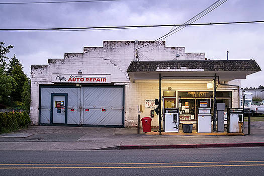Coupeville Auto Repair at Dawn by Mary Lee Dereske