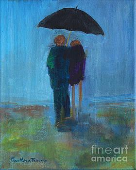 Couple at Beach Under Umbrella in Rain by Robin Maria Pedrero