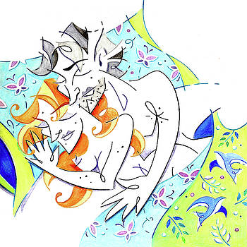 Couple in Love Dreaming Together - Sleeping Beauties by Arte Venezia