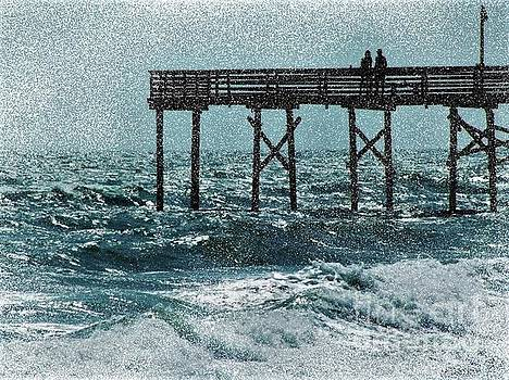 Couple on a Pier - Atlantic Beach NC by Dee Winslow