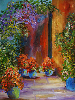 Courtyard and Flowers by Mary Jo Zorad