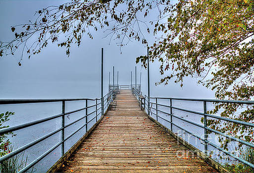 Cove Lake Fishing Pier in Color by Douglas Stucky