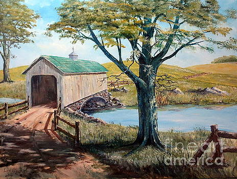 Covered Bridge, Americana, Folk Art by Lee Piper