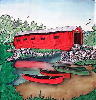 Covered Bridge and Canoes by Linda Marcille