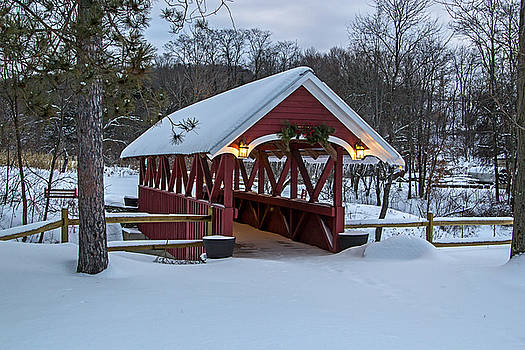 Covered Bridge in the Winter by Frank Morales Jr