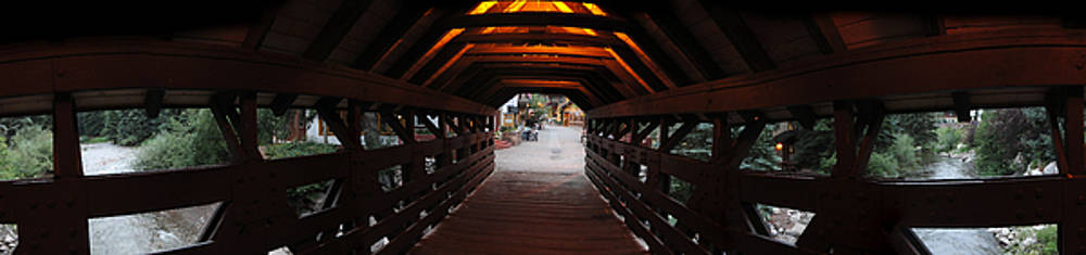 Covered bridge in Vail Colorado Panorama by Jeff Schomay