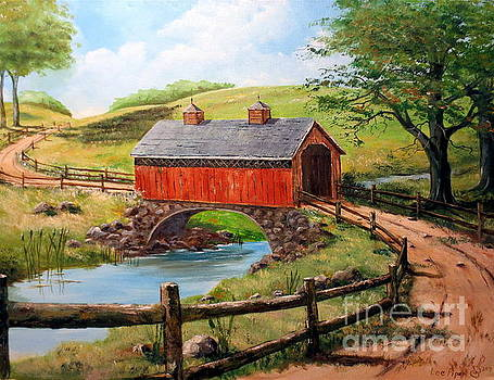 Covered Bridge Country Farm Folk Art Landscape by Lee Piper