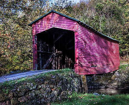 James Woody - Covered Bridge Near Mountain Lake