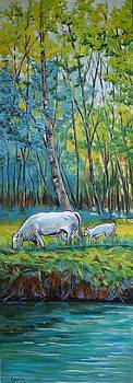 Cathy MONNIER - Cow and calf in the wetlands