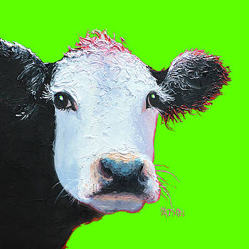 Jan Matson - Cow Art - Black and White on green
