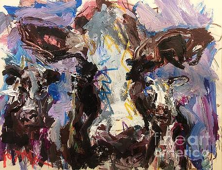 Cow Face, Abstracted Bovine Painting  by Russ Potak