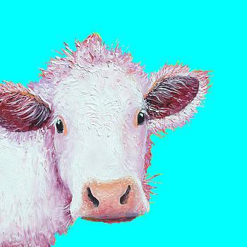 Jan Matson - Cow Painting - Charolais on turquoise