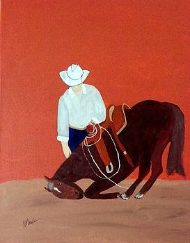 Cowboy And His Horse by Joseph Frank Baraba