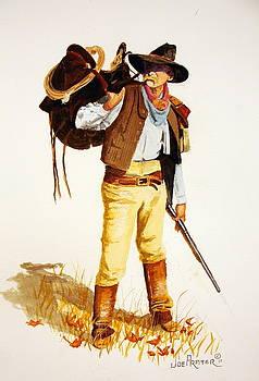 Cowboy And Saddle by Joe Prater