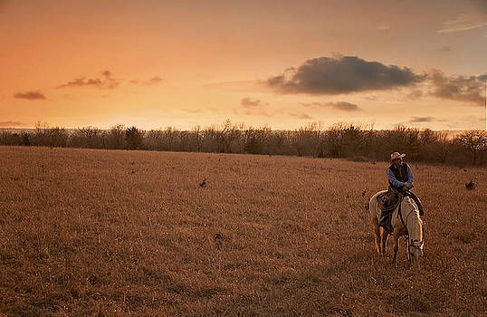 Cowboy at Sunset by Joenne Hartley