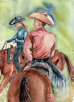 Cowboy, Looking Back by Maria's Watercolor
