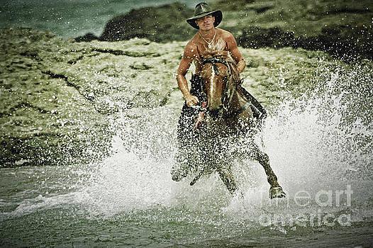 Cowboy riding horse across the river by Dimitar Hristov