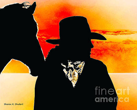 Cowgirl At Sunset by Sharon K Shubert