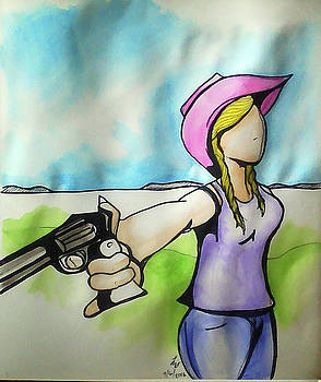 Cowgirl with gun by Loretta Nash
