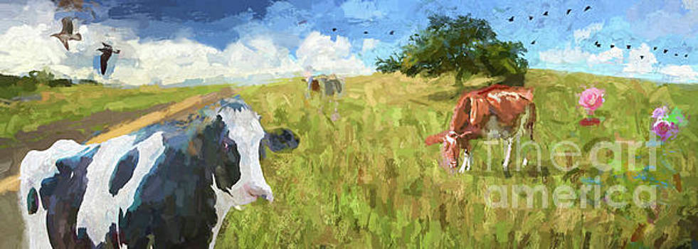 Cows in field, ver 2 by Larry Mulvehill