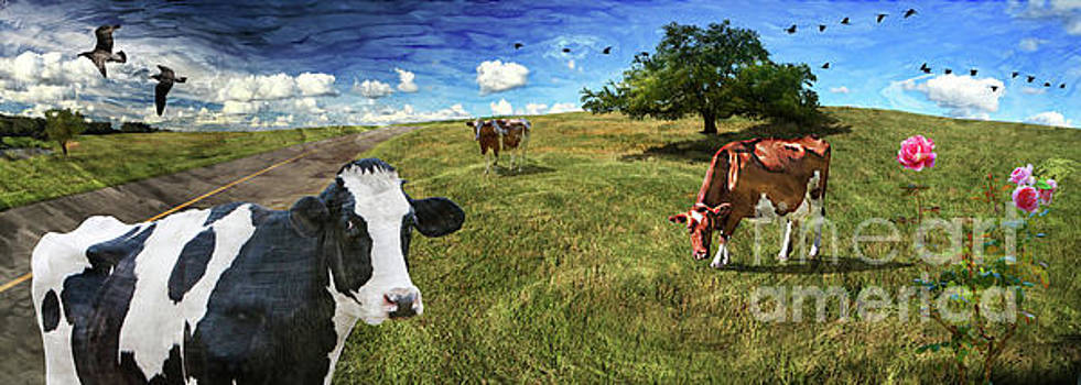 Cows in field, ver 3 by Larry Mulvehill