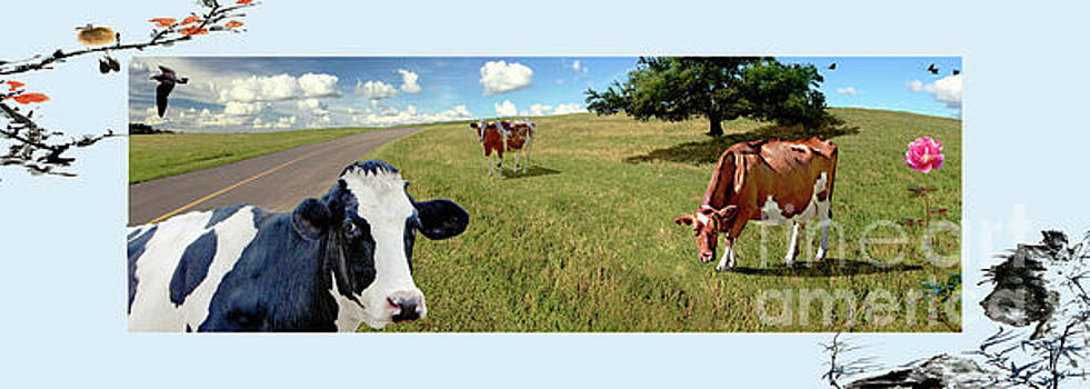 Cows in Field, Ver 4 by Larry Mulvehill