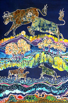 Cows Jumping Over The Moon by Carol  Law Conklin