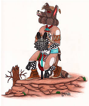 Coyote Kachina by Alfred Dawahoya