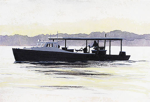 Crab Boat Slick Calm Day Chesapeake Bay Maryland by G Linsenmayer