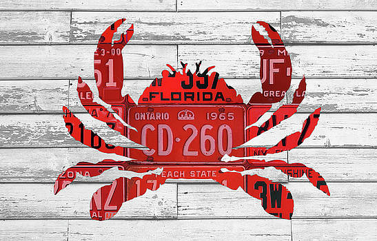 Design Turnpike - Crab in License Plates Beach House Vintage Decor Series 003