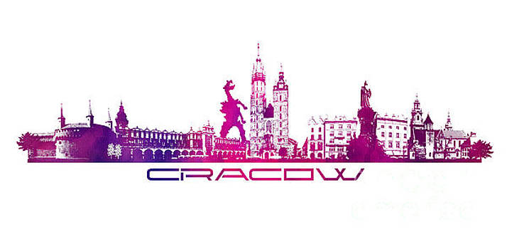 Justyna Jaszke JBJart - Cracow city skyline purple