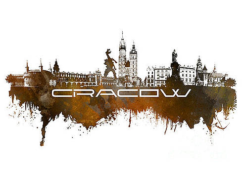 Justyna Jaszke JBJart - Cracow skyline city brown