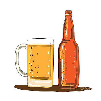 Craft Beer Bottle and Mug Watercolor by Aloysius Patrimonio