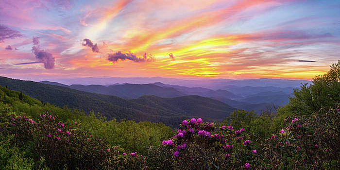Craggy Mountains Sunset Panorama by Dawnfire Photography