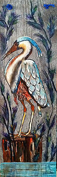 Crane on Tile by Dale Carr