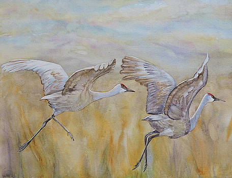 Cranes Alight by Vicky Lilla