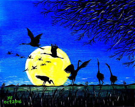 Cranes In Moonlight by Yong-Shing Sin