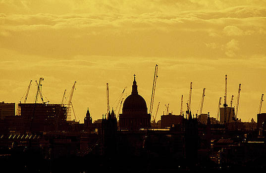 Cranes over London by Wayne Molyneux