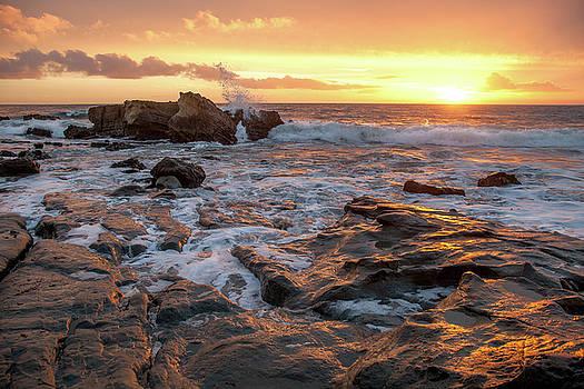Cliff Wassmann - Crashing surf at sunset